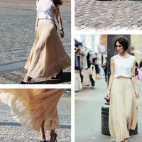 BK10 Fashion Women's Lace Chiffon Long Dress Woman Pleated Wave Summer Sun Dress