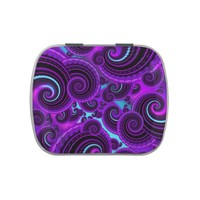 Purple Swirl Fractal Art Pattern Candy Tin