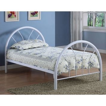 Modern Style Twin Size Metal Bed, White