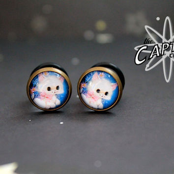 Kawaii white cat 10mm 00G plugs bodmod cute lolita dainty kitten kitty