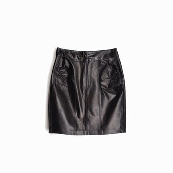 Vintage 90s Black Leather Mini Skirt / Ruched Leather Skirt / High Waist Skirt - women's medium