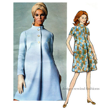 1960s Mod VOGUE 2069 A-Line CoatDress One Piece DRESS PATTERN Teal Traina Designer Vogue Americana Bust 32.5 Size 10 Womens Sewing Patterns