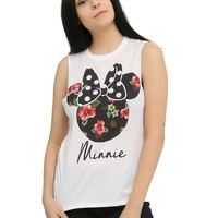 Disney Minnie Mouse Floral Silhouette Girls Muscle Top