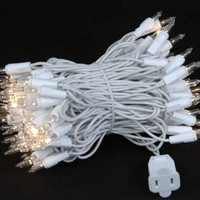"""Novelty Lights, Inc. CG100-4-W-CL Commercial Grade Christmas Mini Christmas Light Set, Clear, White Wire, 100 Light, 4"""" Spacing, 34' Long"""
