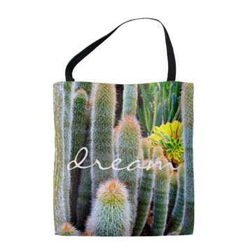 """Dream"" orange-tipped green cacti photo tote bag"