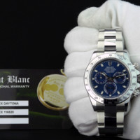 "ROLEX REHAUT DAYTONA Stainless Steel BLUE Index ""Fat"" Buckle 116520 SANT BLANC"