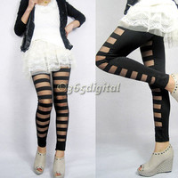 35DI Women Ripped Sexy Torn Stretch Stripe Legging Bandage Tights Pants Trousers