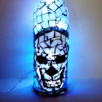 Skull Lamp, Mosaic Art Glass Bottle Light, OOAK Spooky Home Decor, Goth Stained Glass Artwork with Fairy Lights
