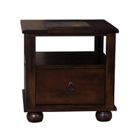Sunny Designs Santa Fe End Table with Drawer In Dark Chocolate