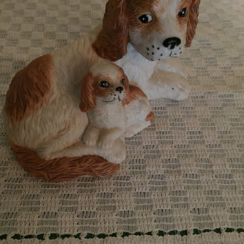 Home Decor  Bird dog  Shelf decoration  Hunting dog  Spaniel figurine   Dog Figurine   Home Interiors  Puppy figurine  Collectibles
