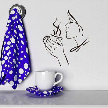 Wall Vinyl Sticker Decal Beautiful Woman Tea Cup Kitchen Coffee Shop Unique Gift (ig2079)