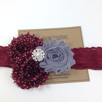 Shabby Flower Lace Headband Maroon and Gray Gypsy Boho Chic Texas A & M Aggies Polka Dot Mississippi State
