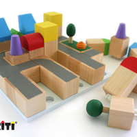 CUBICITI - Cityscape Wooden Building Blocks - Educational Toy.