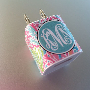 Lilly Pultizer iphone or ipod Vine Monogram Charger Wrap - Let's Cha Cha