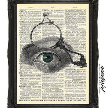Steampunk Monocled Eye Original Collage Print on an Unframed Upcycled Bookpage