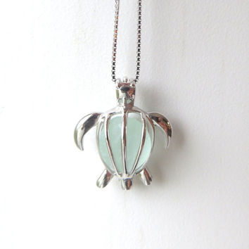 Sea Glass Turtle Locket Pale Aqua Sterling Silver Honu