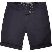 River Island MensNavy slim chino shorts