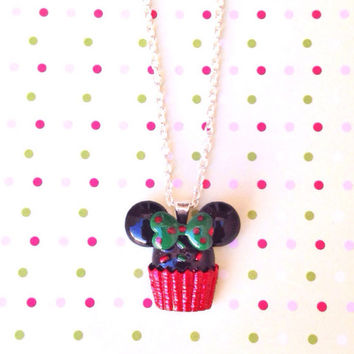 "Handmade Special Holiday Edition Minnie Mouse Inspired Cupcake Necklace - 18"" chain or Keychain option"
