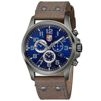 Luminox Mens Atacama Field Alarm Chrono - Blue Dial with Gunmetal Case - Strap