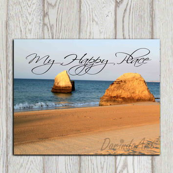 My happy place print Photo printable Beach art print Nautical print Bathroom decor Beach house decor Ocean Sand Gift idea INSTANT DOWNLOAD