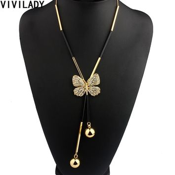 VIVILADY Elegant Butterfly Long Beaded Chain Tassel Necklace Women Rhinestone Office Accessory Bohemia Costumes Jewelry Bijoux