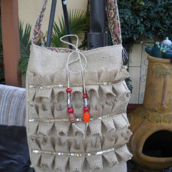 Glitzy French Burlap   Bag Hobo Bag  with by maycascollection