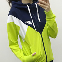 Nike: young men and women pure color long sleeve hooded fleece jacket