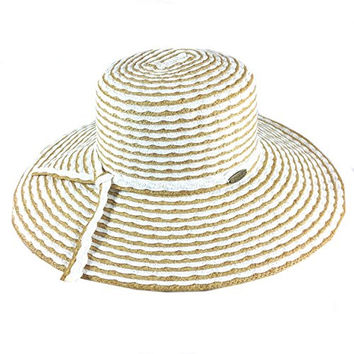 Cappelli Straworld Wide Brim Straw Sun Hat with UPF 50+ Sun Protection (White)