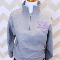 Sorority 1/4 Zip Sweatshirt in Greek Life Girl Monogram with Sigma Kappa