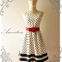 NEW Amor Vintage 50's Rockabilly  Inspired Black and White Polka Dot Love Vintage Red Belt -Fit Size M-