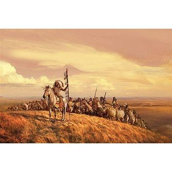 INDIANS on the PLAIN art poster painting WIND SKY tribal chief 24X36 HOT