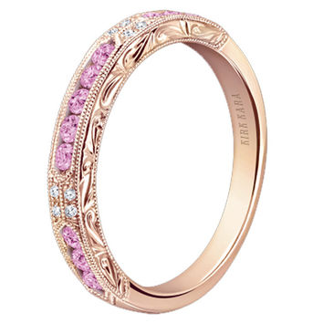 "Kirk Kara ""Charlotte"" Pink Sapphire Diamond Wedding Band"