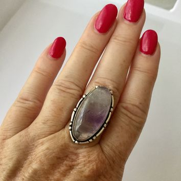 Cabachon Amethyst Sterling Silver Ring size 8
