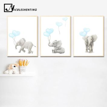 Elephant Balloon Wall Art Canvas Painting Cartoon Nursery Posters and Prints Nordic Kids Decoration Picture Baby Bedroom Decor