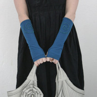 Soft Tusquise with blue beaded spirals fingerless stretch gloves - Cotton Yoga Gothic Chic modern abstract Cycling Sport dark