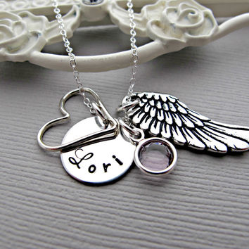 remembrance necklace, Custom Heart Pendant, Angel Wing, Personalized Birthstone, Gift For Friend, Gift For Mom, Mother's, Memorial Necklace