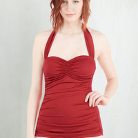 Vintage Inspired Halter Bathing Beauty One-Piece Swimsuit in Red