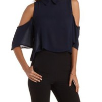 Navy Collared Cold Shoulder Swing Crop Top by Charlotte Russe