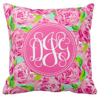 Monogrammed Throw Pillow, First Impressions, Pink Roses