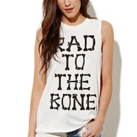 Petals and Peacocks Rad 2 The Bone Muscle T-Shirt - Womens Tee - White -