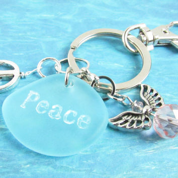 Angel Keychain with Peace Quote