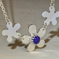 Multi Flower Sterling Silver Necklace with Blue Lapiz or Personalized Birthstones and Gemstones