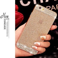 iAnko Gold Bling Rhinestone Diamond Crystal Glitter Bling Case Cover Shell Phone Case for Iphone 6 4.7 Inch (Hard Case)