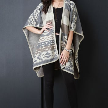 Navajo Tribal Print and Stripes Open Front Poncho