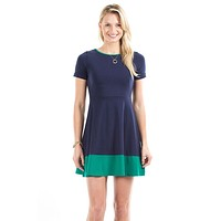 Jenna Dress in Navy and Green by Duffield Lane - FINAL SALE
