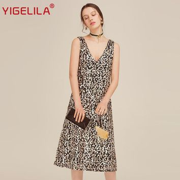 YIGELILA 2017 Latest New Women Summer Dress Fashion Sexy Club Deep V-neck Sleeveless Mid Length Sequined Dress 62582