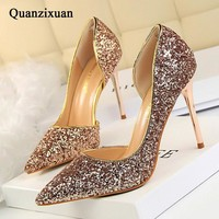Women Pumps Bling High Heels Women Pumps Glitter High Heel Shoes Woman Sexy Wedding Pa