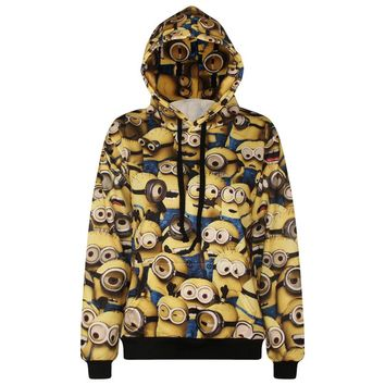 2016 Women/Men Hoodies Long Sleeve 3d Minions Printed Pocket Sweatshirts Casual Loose Warm Tops Couples Tracksuit