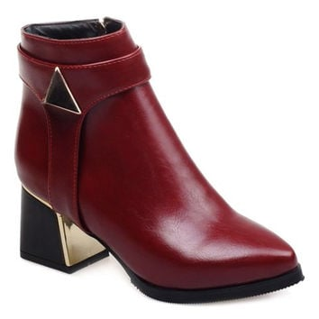 Fashionable Women's Short Boots With Zip and PU Leather Design