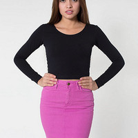 Stretch Bull Denim High-WaistSlim Skirt